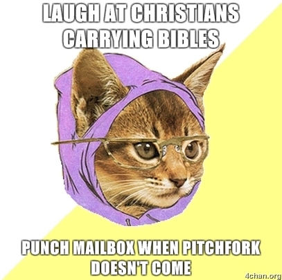 Laugh at Christians carrying bibles punch mailbox when Pitchfork doesnt come